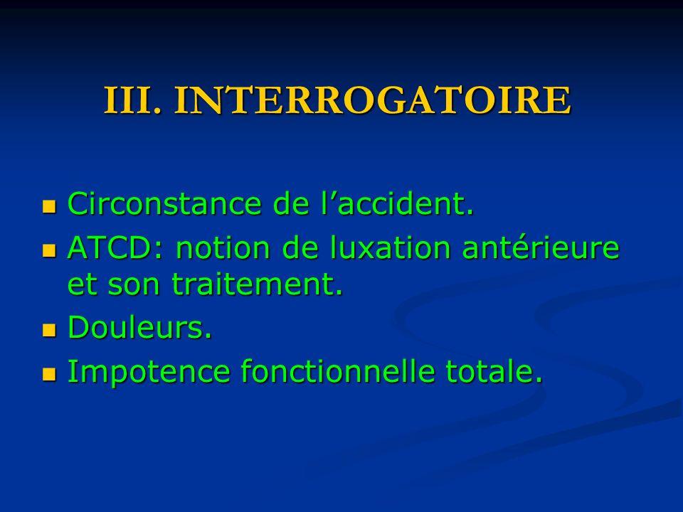 III. INTERROGATOIRE Circonstance de l'accident.