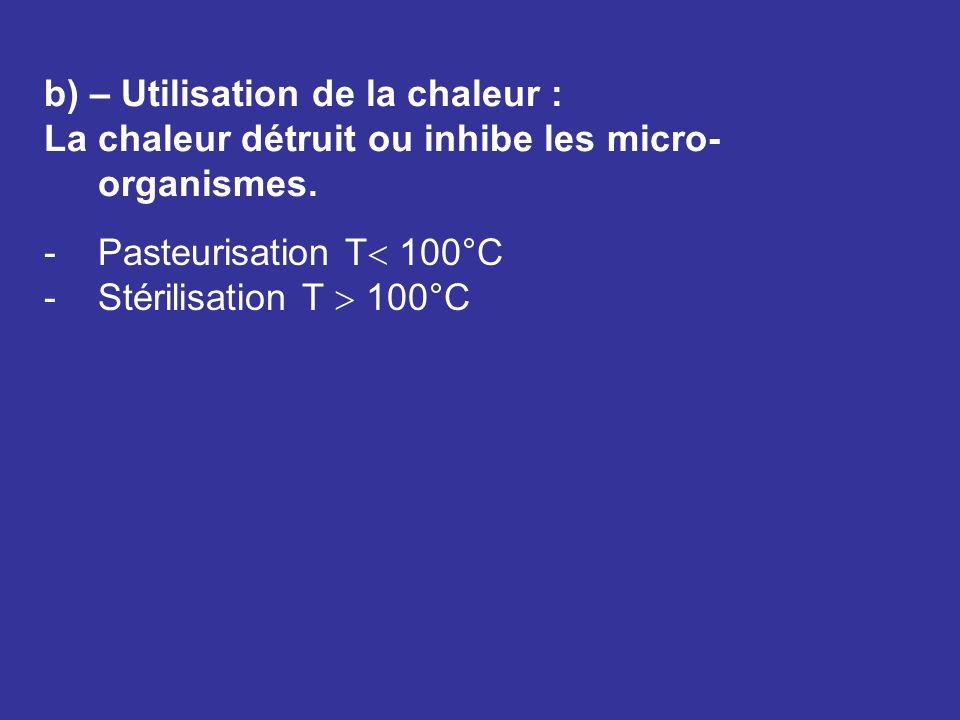 b) – Utilisation de la chaleur :