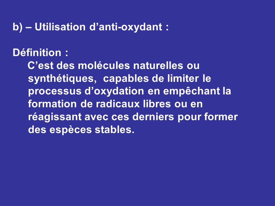 b) – Utilisation d'anti-oxydant :