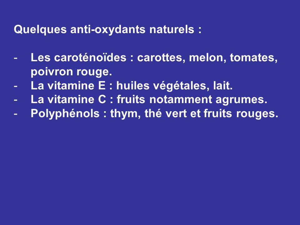 Quelques anti-oxydants naturels :
