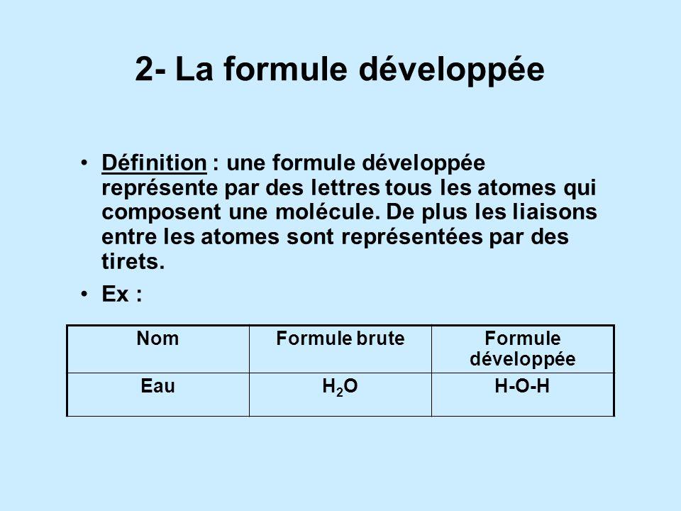 2- La formule développée