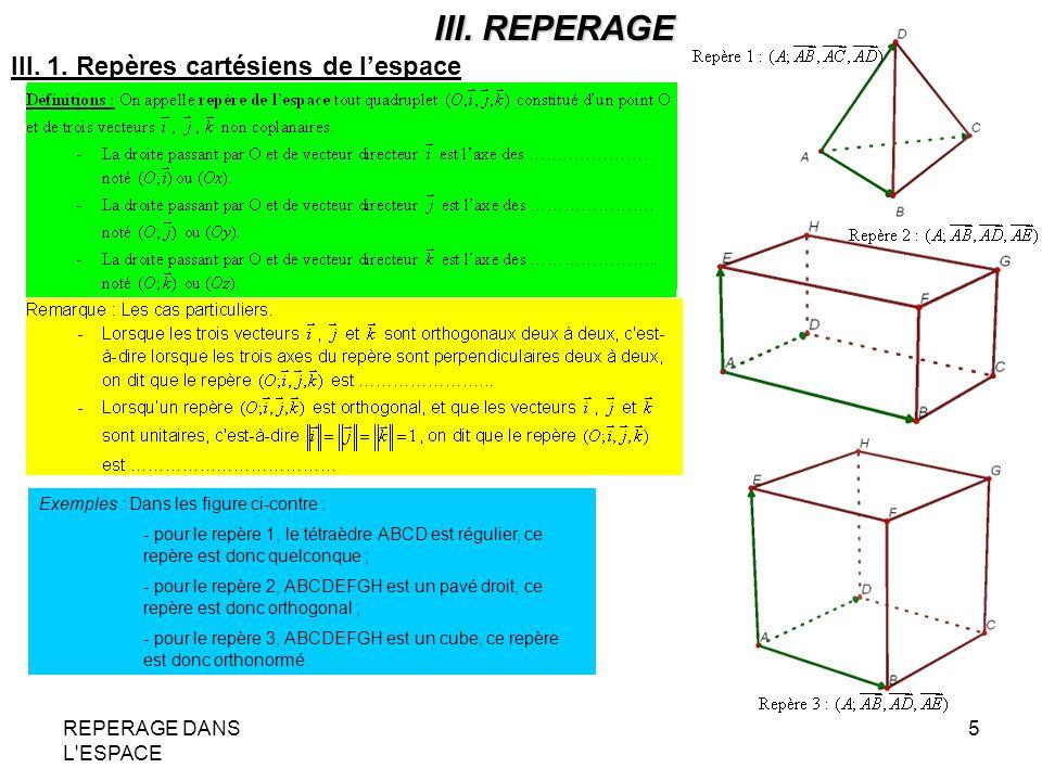 III. REPERAGE III. 1. Repères cartésiens de l'espace