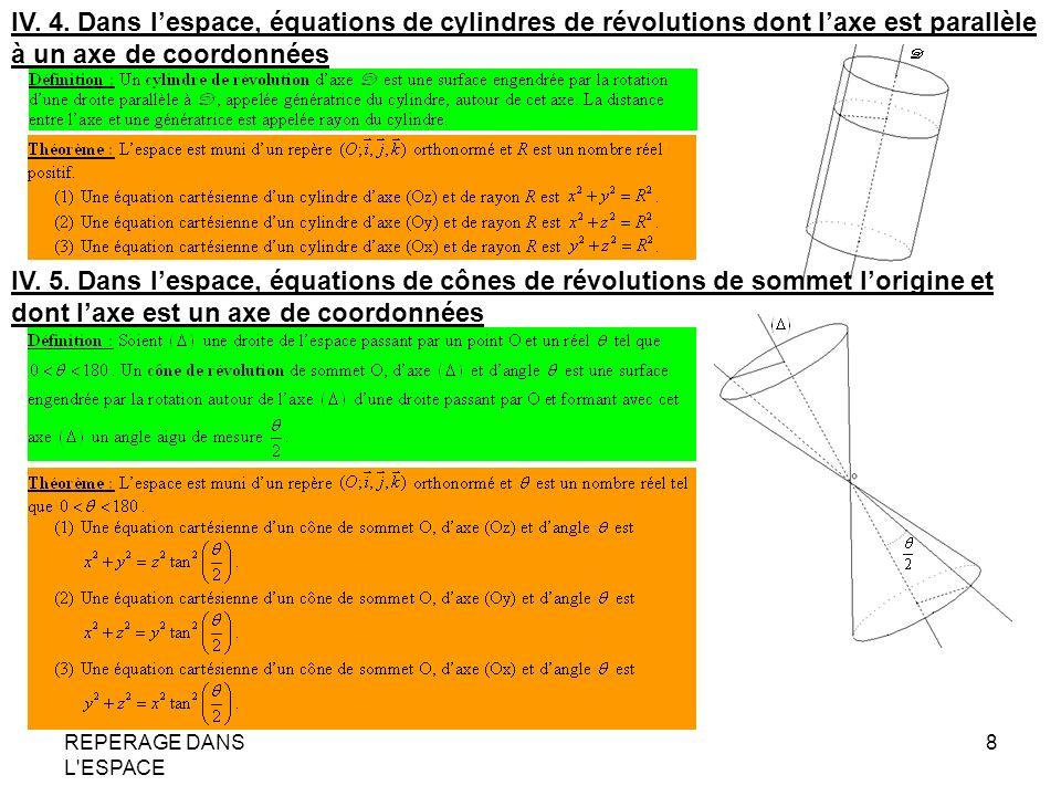 IV. 4. Dans l'espace, équations de cylindres de révolutions dont l'axe est parallèle à un axe de coordonnées