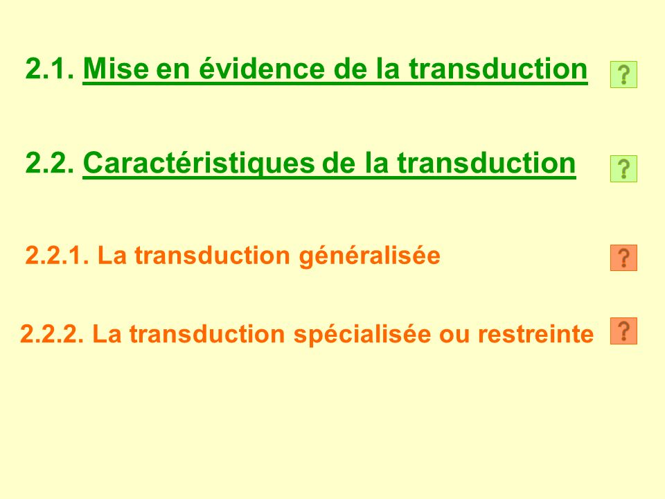 2.1. Mise en évidence de la transduction