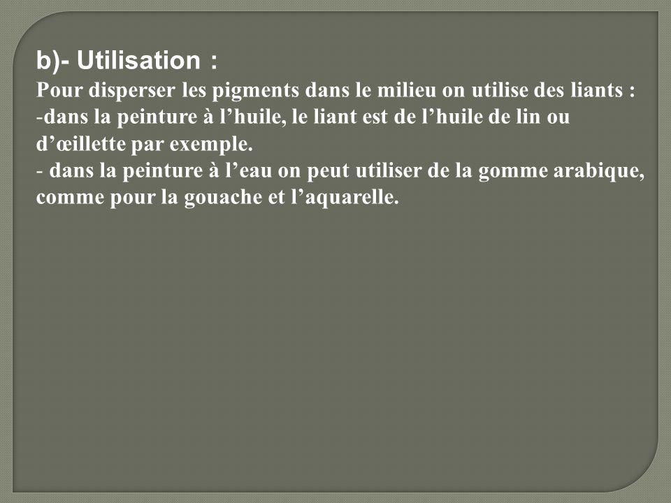 b)- Utilisation : Pour disperser les pigments dans le milieu on utilise des liants :
