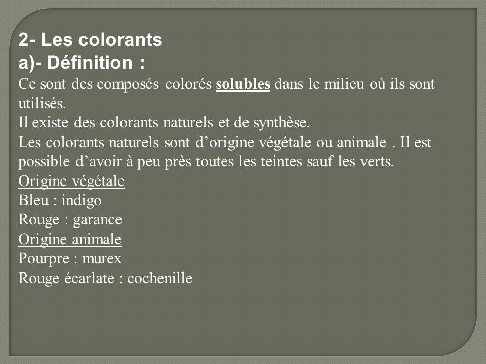 2- Les colorants a)- Définition :