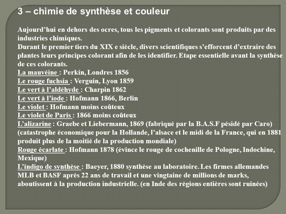 3 – chimie de synthèse et couleur