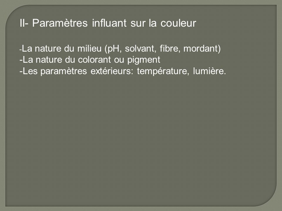 II- Paramètres influant sur la couleur