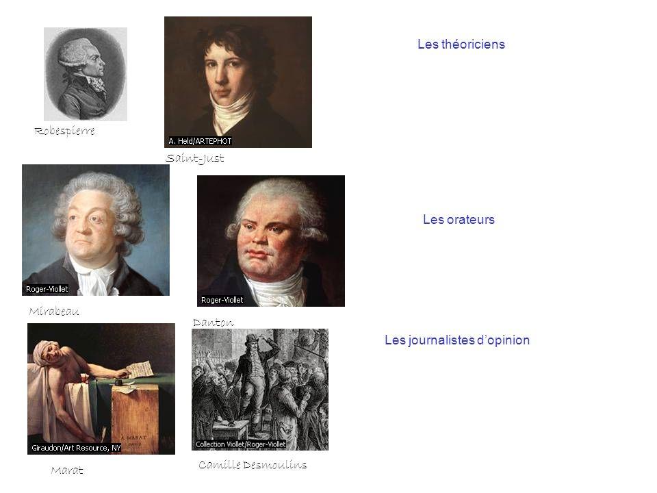 Les théoriciens Robespierre. Saint-Just. Les orateurs. Mirabeau. Danton. Les journalistes d'opinion.
