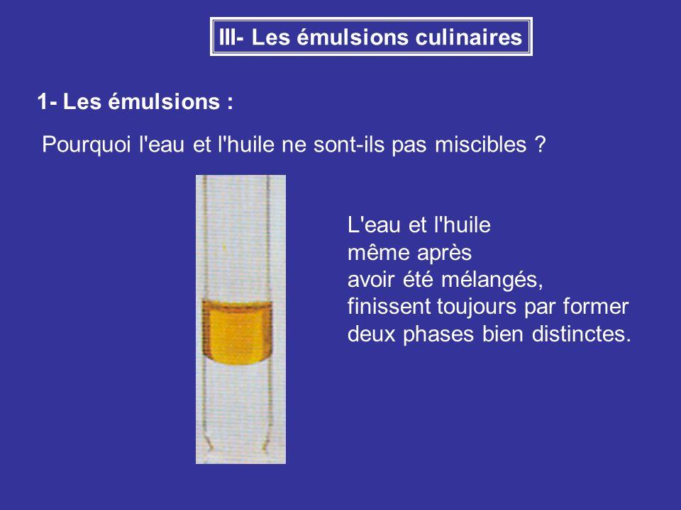 III- Les émulsions culinaires