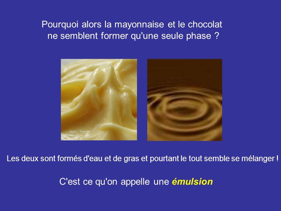 Pourquoi alors la mayonnaise et le chocolat