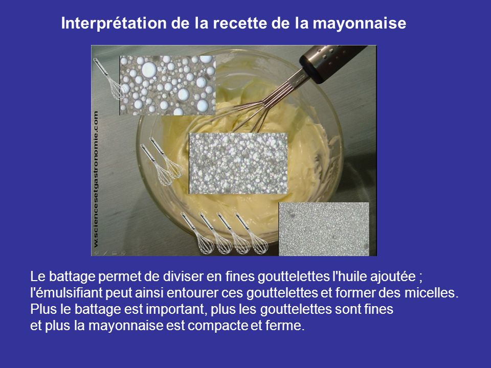 Interprétation de la recette de la mayonnaise