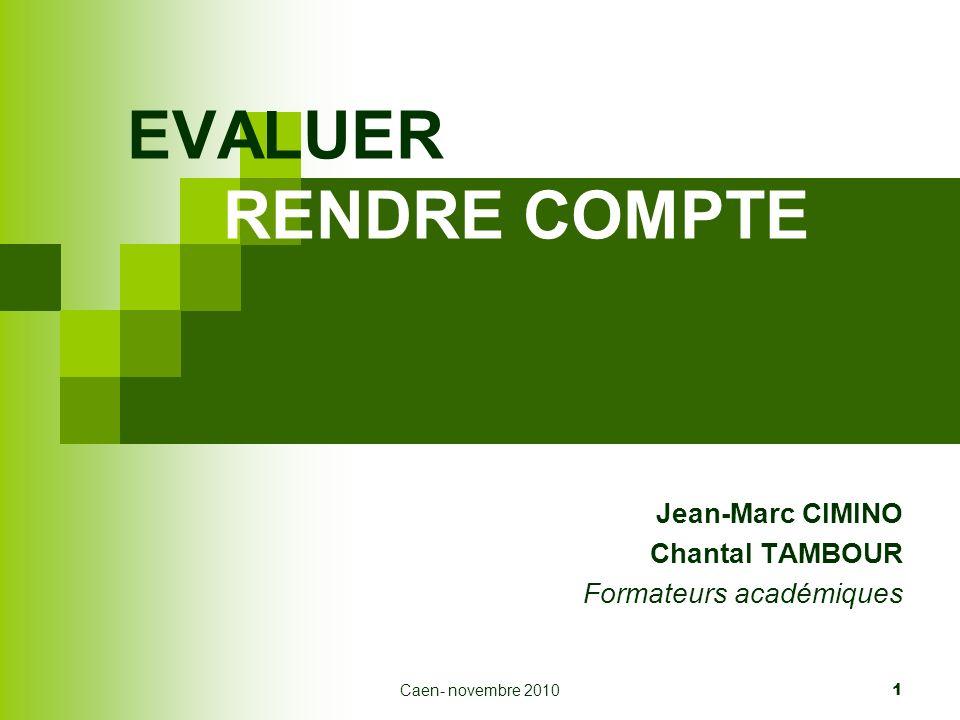 Jean-Marc CIMINO Chantal TAMBOUR Formateurs académiques