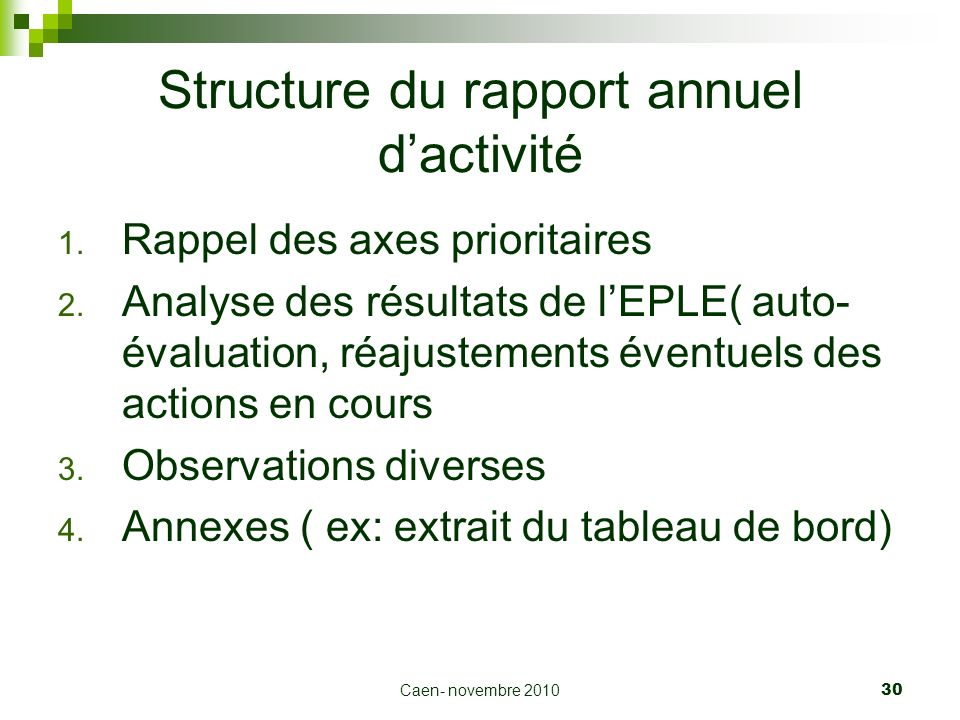 Structure du rapport annuel d'activité