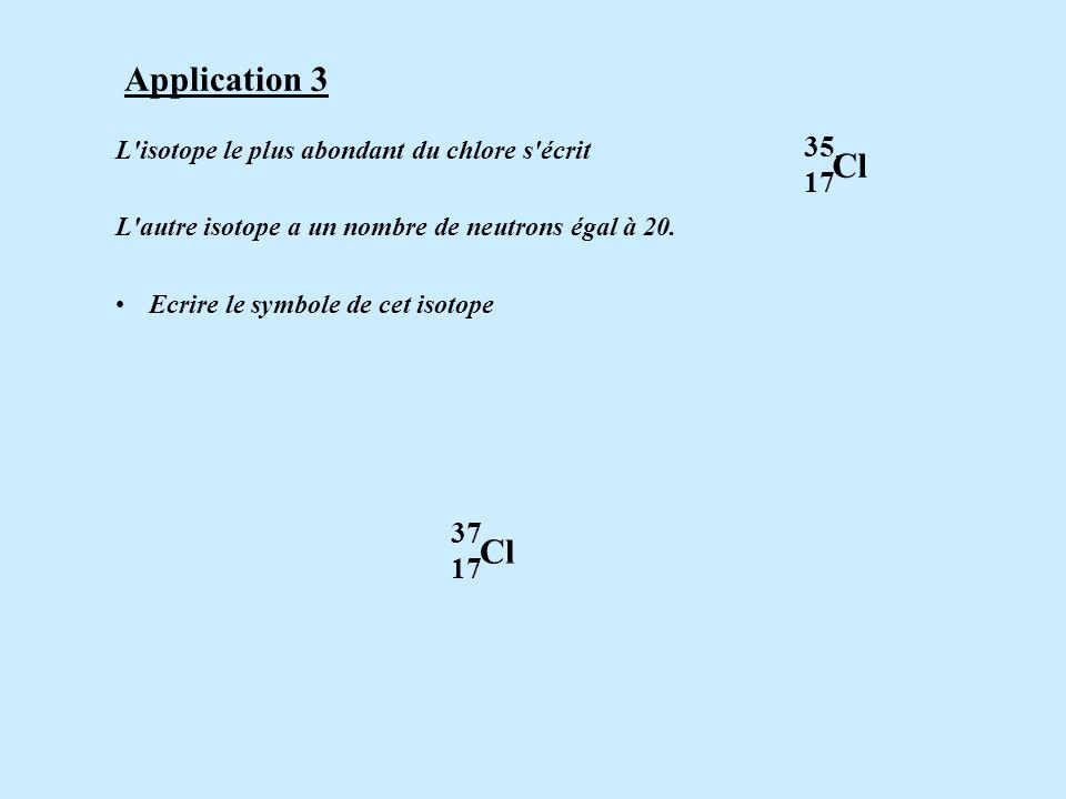 Application 3 35. Cl. 17. L isotope le plus abondant du chlore s écrit .
