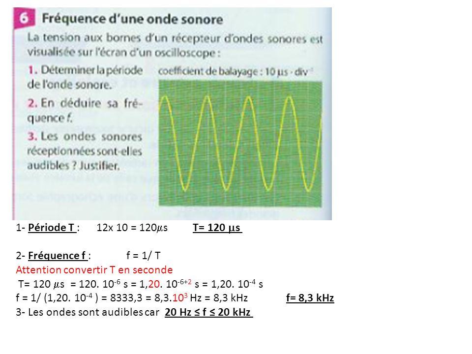 1- Période T : 12x 10 = 120ms T= 120 ms2- Fréquence f : f = 1/ T. Attention convertir T en seconde.