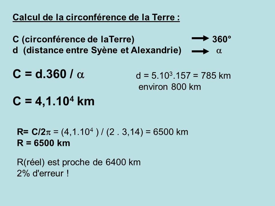 C = d.360 / a C = 4,1.104 km Calcul de la circonférence de la Terre :