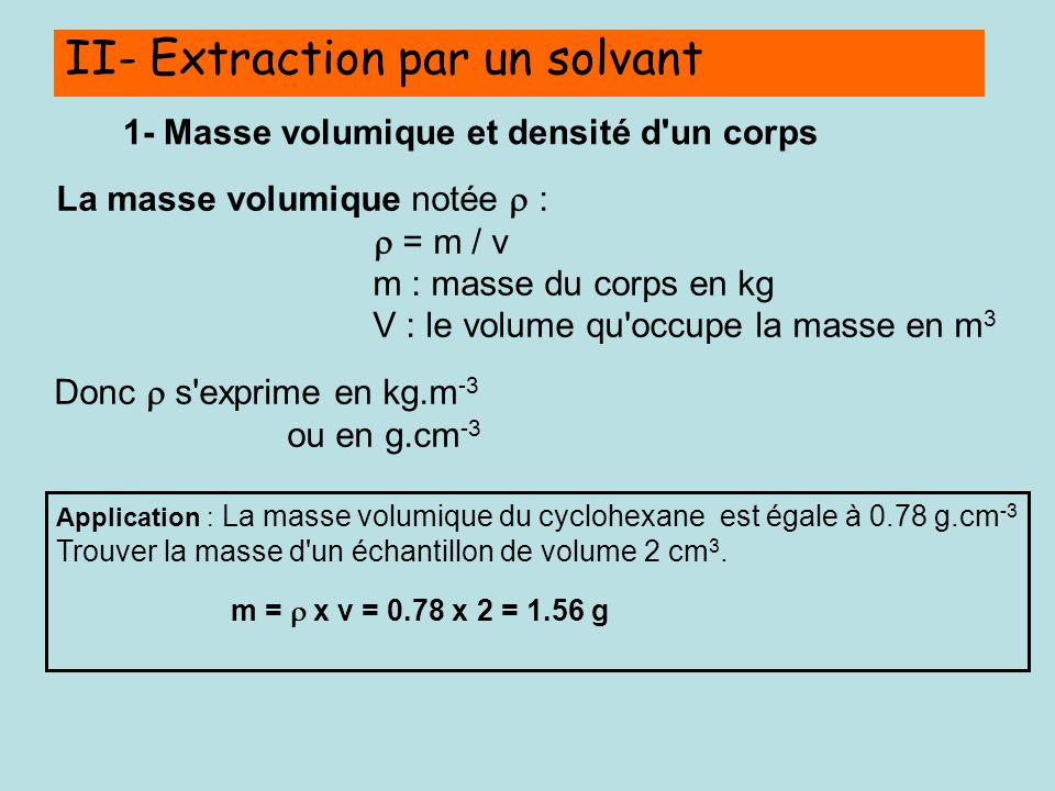 II- Extraction par un solvant