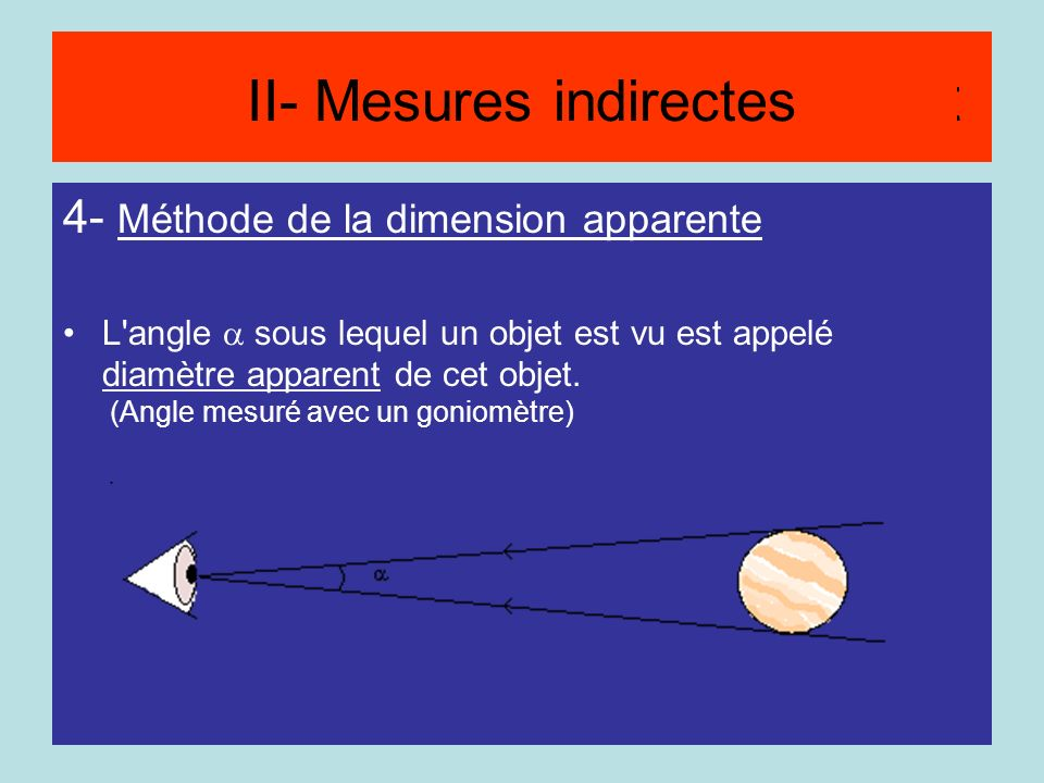 Méthode du diamètre apparent