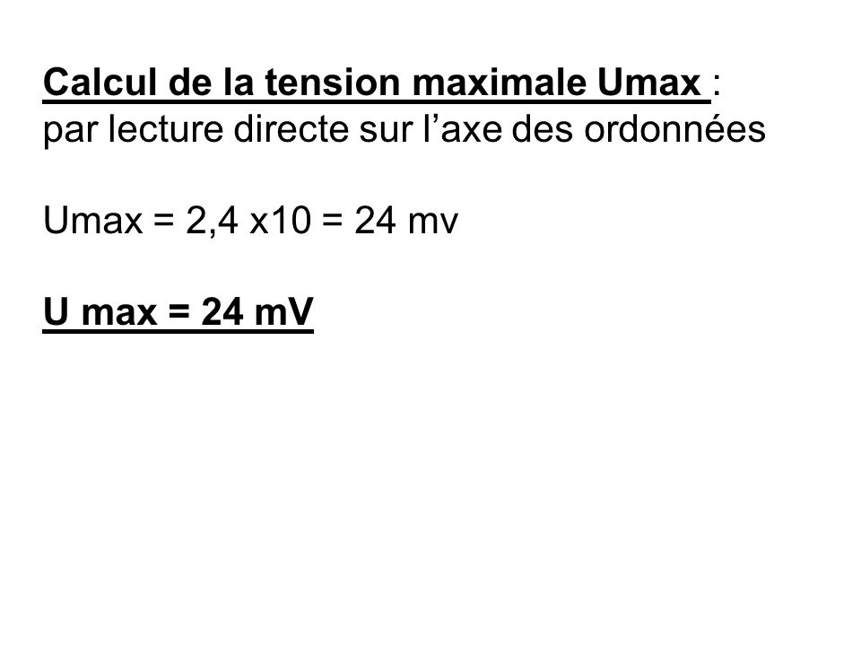 Calcul de la tension maximale Umax :