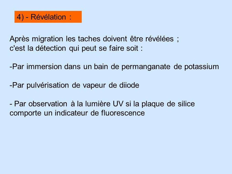 4) - Révélation : Après migration les taches doivent être révélées ; c est la détection qui peut se faire soit :