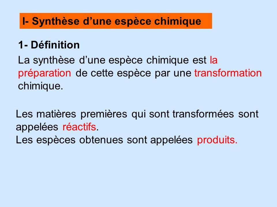 I- Synthèse d'une espèce chimique