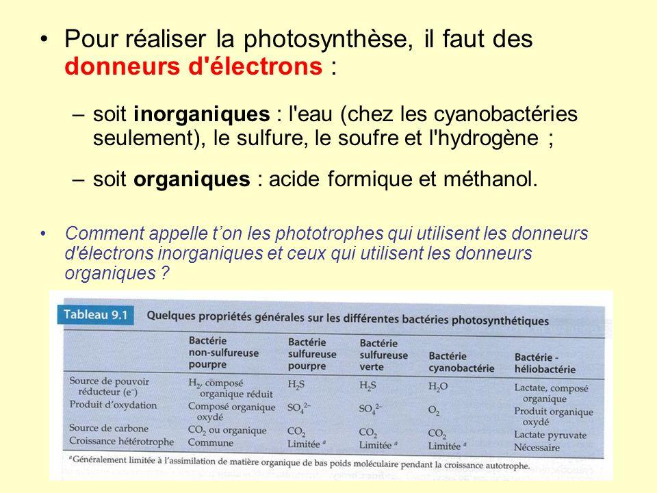 Pour réaliser la photosynthèse, il faut des donneurs d électrons :