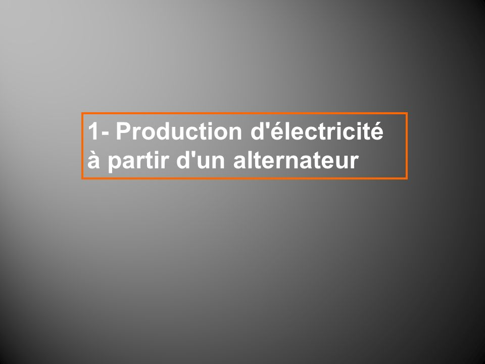 1- Production d électricité à partir d un alternateur