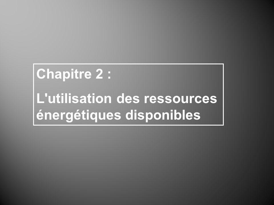 Chapitre 2 : L utilisation des ressources énergétiques disponibles