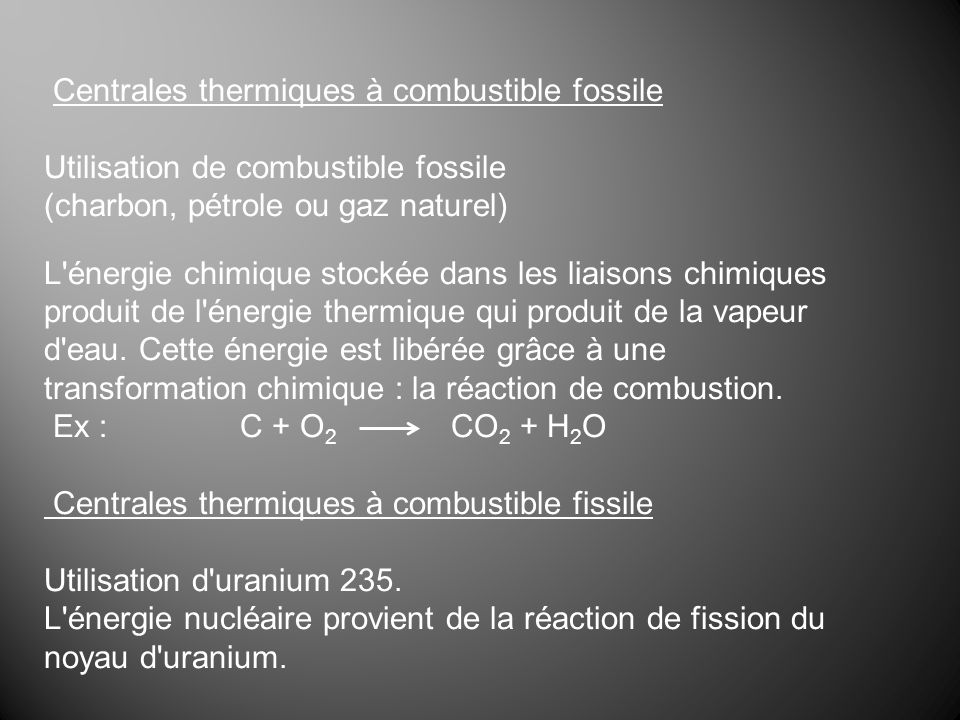 Centrales thermiques à combustible fossile