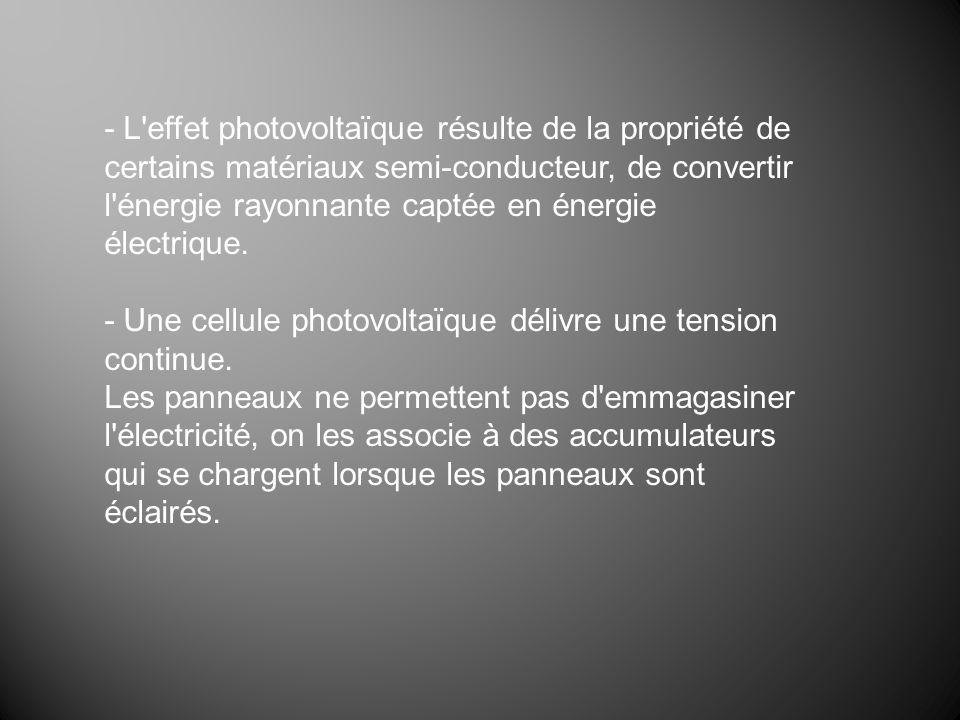 - L effet photovoltaïque résulte de la propriété de certains matériaux semi-conducteur, de convertir l énergie rayonnante captée en énergie électrique.