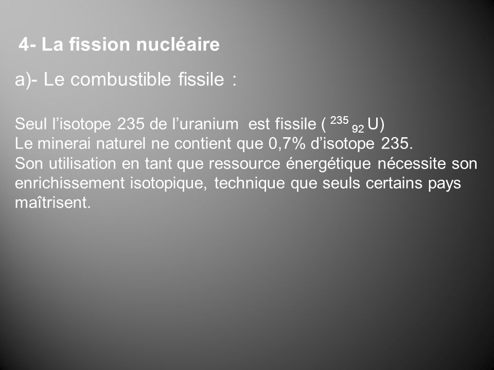 a)- Le combustible fissile :