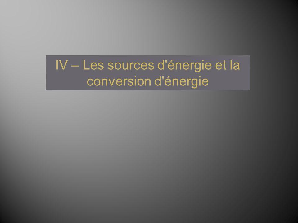 IV – Les sources d énergie et la conversion d énergie