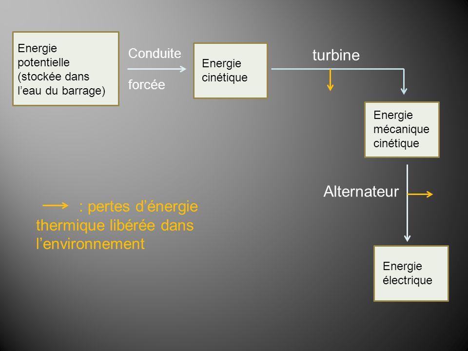 : pertes d'énergie thermique libérée dans l'environnement