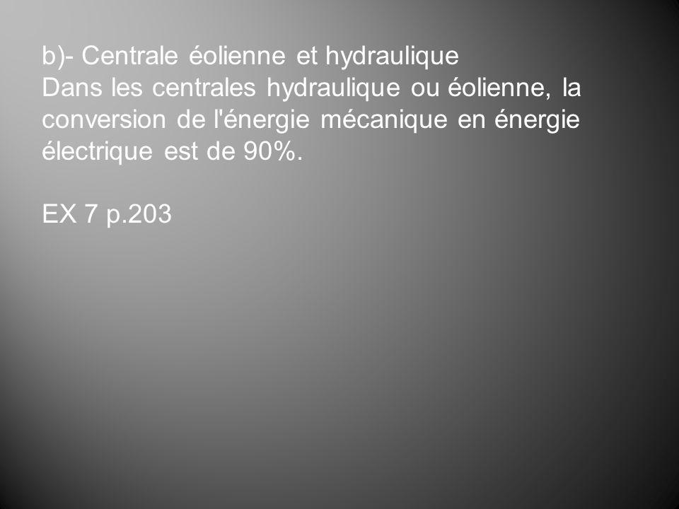 b)- Centrale éolienne et hydraulique