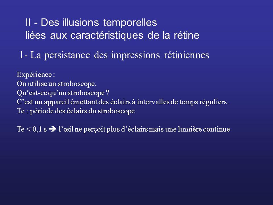 II - Des illusions temporelles liées aux caractéristiques de la rétine