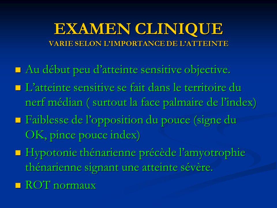 EXAMEN CLINIQUE VARIE SELON L'IMPORTANCE DE L'ATTEINTE