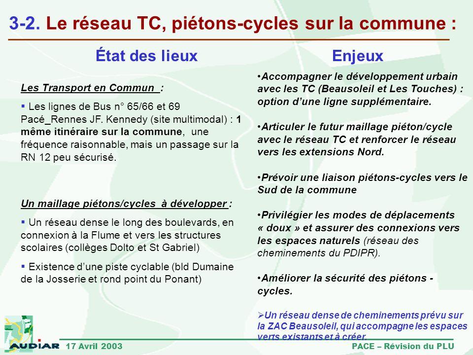 3-2. Le réseau TC, piétons-cycles sur la commune :