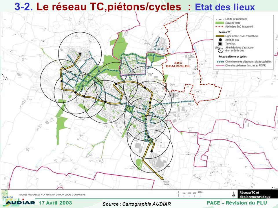 3-2. Le réseau TC,piétons/cycles : Etat des lieux