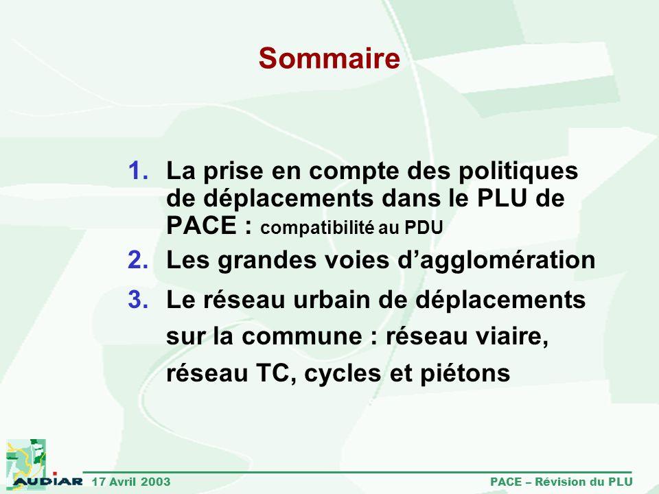 Sommaire La prise en compte des politiques de déplacements dans le PLU de PACE : compatibilité au PDU.