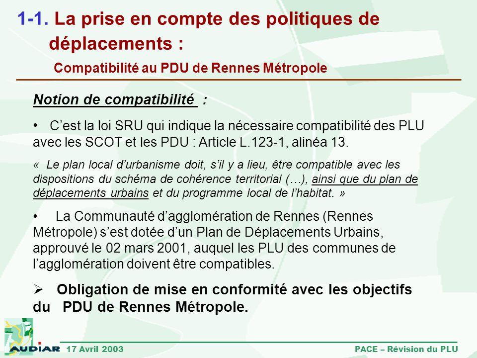 1-1. La prise en compte des politiques de déplacements : Compatibilité au PDU de Rennes Métropole