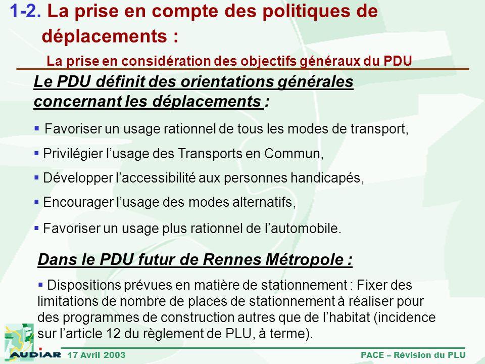 1-2. La prise en compte des politiques de déplacements : La prise en considération des objectifs généraux du PDU