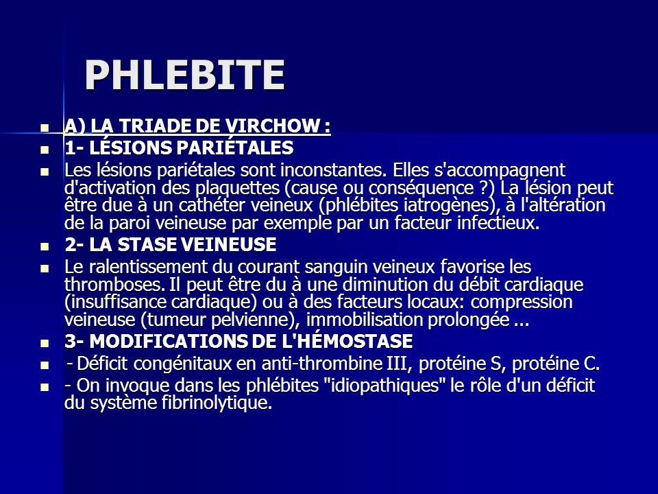 PHLEBITE A) LA TRIADE DE VIRCHOW : 1- LÉSIONS PARIÉTALES