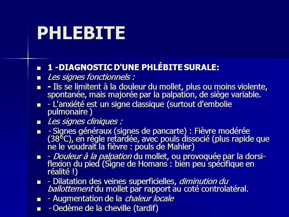 PHLEBITE 1 -DIAGNOSTIC D UNE PHLÉBITE SURALE: