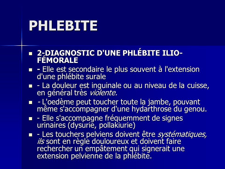 PHLEBITE 2-DIAGNOSTIC D UNE PHLÉBITE ILIO-FÉMORALE