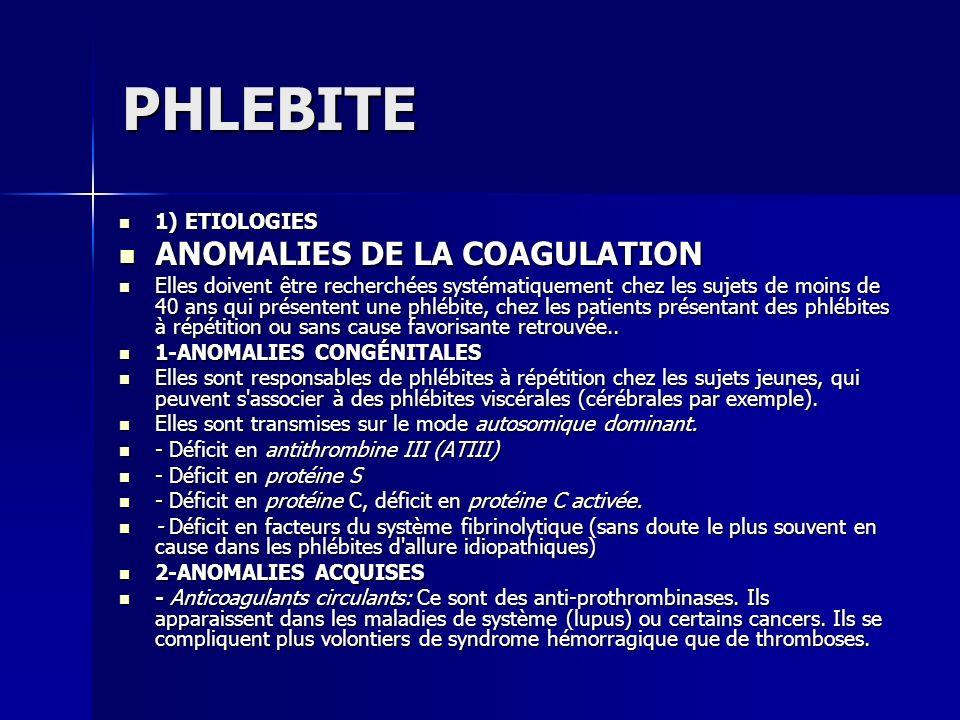 PHLEBITE ANOMALIES DE LA COAGULATION 1) ETIOLOGIES