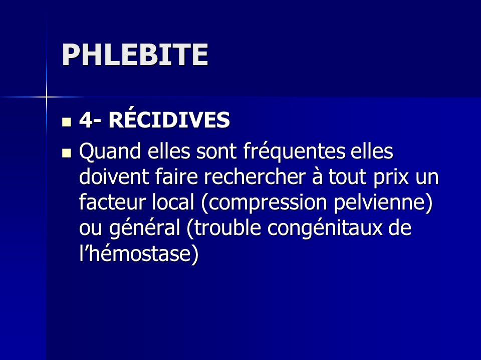 PHLEBITE 4- RÉCIDIVES.