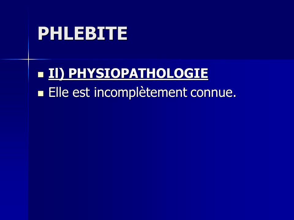 PHLEBITE Il) PHYSIOPATHOLOGIE Elle est incomplètement connue.