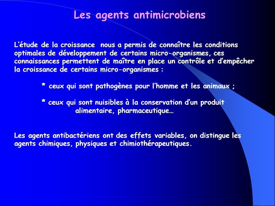 Les agents antimicrobiens