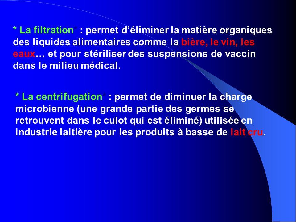* La filtration* : permet d'éliminer la matière organiques des liquides alimentaires comme la bière, le vin, les eaux… et pour stériliser des suspensions de vaccin dans le milieu médical.